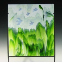 Bird On Mountain Pass - Fused Glass - 19 wide x 8.5 deep