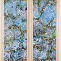 Blue Worlds Speculate - Marbled Silk diptych - 14 x 36 each