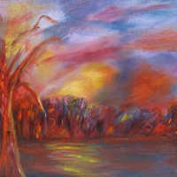 Kathy Alderman - River Sunset - Acrylic - 20 x 16