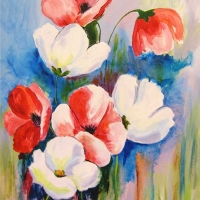 Kathy Alderman - Spring Poppies - Acrylic - 16 x 20
