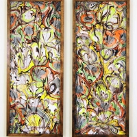 Lilies Linger - Marbled Silk diptych - 14 x 36 each