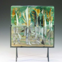 Fall Reflection - Fused Glass - 11.5 wide x 5 deep