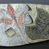 Three Leaves - Ceramic Postcard - 6 x 8