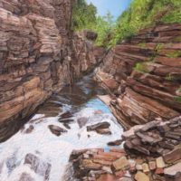 Ausable Chasm - sculptural acrylic - 20 x 16