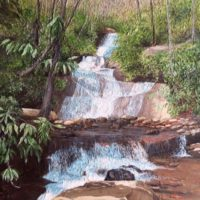 Set Rock Creek Falls - sculptural acrylic - 30 x 20